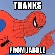 Spiderman - thanks from jabble