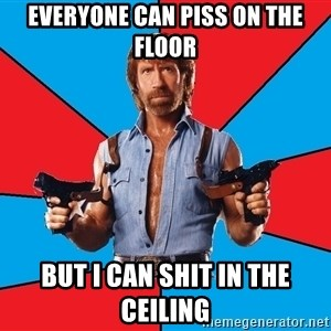 Chuck Norris  - Everyone can piss on the floor But I can shit in the ceiling