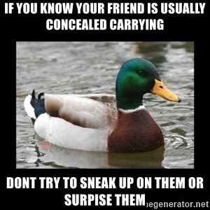 advice mallard - If you know your friend is usuallY concealed carryIng Dont try To sneak up on Them or surpise Them
