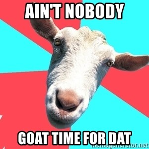 Oblivious Activist Goat - ain't nobody goat time for dat
