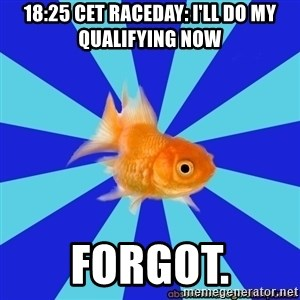 Absentminded Goldfish - 18:25 CET raceday: i'll do my qualifying now forgot.