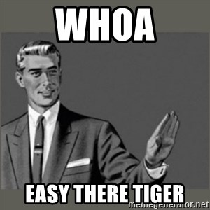 Bitch, Please grammar - Whoa Easy there tiger