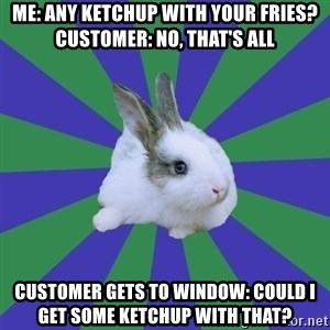 Restaurant Rabbit - me: any ketchup with your fries? customer: no, that's all customer gets to window: could i get some ketchup with that?