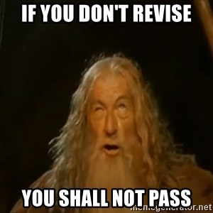 Gandalf You Shall Not Pass - If you don't revise you shall not pass