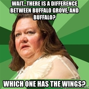 Dumb Whore Gina Rinehart - wait...THERE IS A DIFFERENCE BETWEEN BUFFALO GROVE, AND BUFFALO?  WHICH ONE HAS THE WINGS?