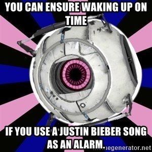 """Did you know"" Fun Fact sphere  - You can ensure waking up on time  If you use a Justin Bieber song as an alarm."
