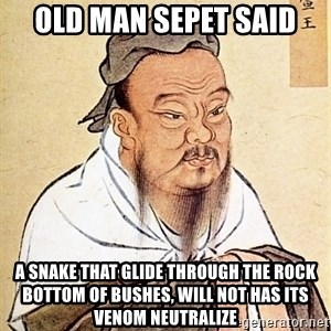 Confucious - old man sepet said a snake that glide through the rock bottom of bushes, will not has its venom neutralize