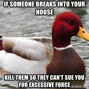 Malicious advice mallard - If someone breaks into your house Kill them so they can't sue you for EXCESSIVE force