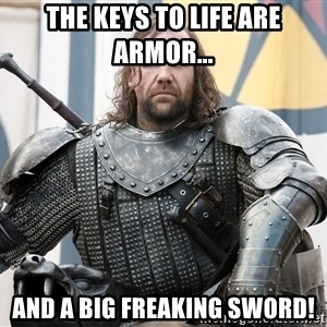 The Hound Mugshot - The keys to life are armor... and a big freaking sword!