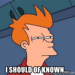 Futurama Fry -  I should of known....