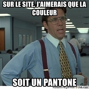 That would be great - Sur le site, j'aimerais que la couleur soit un pantone