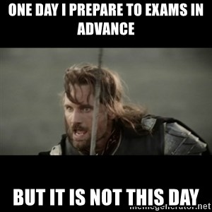 But it is not this Day ARAGORN - one day i prepare to exams in advance but it is not this day