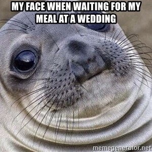 Awkward Moment Seal - my face when waiting for my meal at a wedding