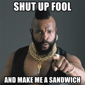 Mr T Fool - Shut up fool  and make me a sandwich