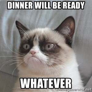 grump cat un - dinner will be ready WHATEVER
