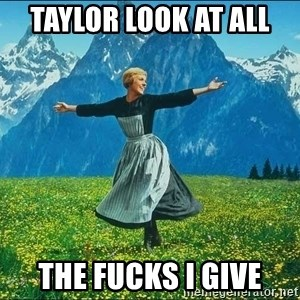Look at all the things - TAYLOR LOOK AT ALL  THE FUCKS I GIVE