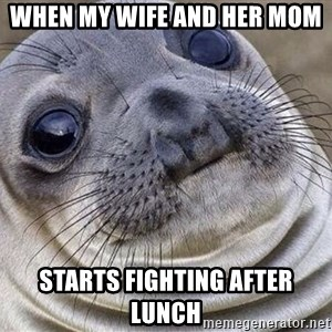 Awkward Moment Seal - When my wife and her mom starts fighting after lunch