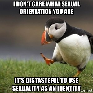 Unpopular Opinion Puffin - i don't care what sexual orientation you are it's distasteful to use sexuality as an identity