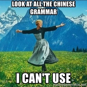 Look at all the things - look at all the chinese grammar I can't use