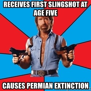 Chuck Norris  - Receives first slingshot at age five causes Permian extinction