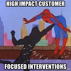 crotch punch spiderman - high impact customer focused interventions