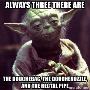 Yoda - always three there are the douchebag, the douchenozzle, and the rectal pipe