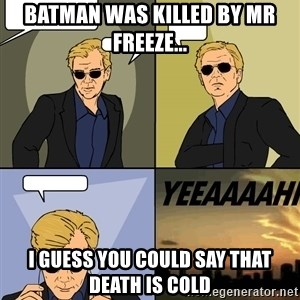Csi 4pane - BATMAN WAS KILLED BY MR FREEZE... I GUESS YOU COULD SAY THAT DEATH IS COLD