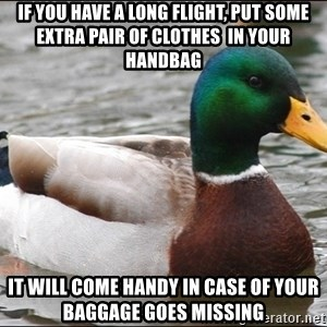 Actual Advice Mallard 1 - If you have a long flight, put some extra pair of clothes  in your handbag it will come handy in case of your baggage goes missing