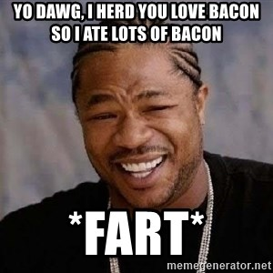 Yo Dawg - yo dawg, i herd you love bacon so i ate lots of bacon *fart*