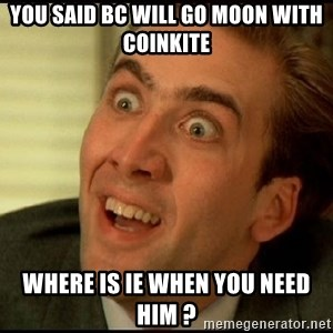 You Don't Say Nicholas Cage - You Said BC will GO moon with Coinkite Where is Ie when you need him ?