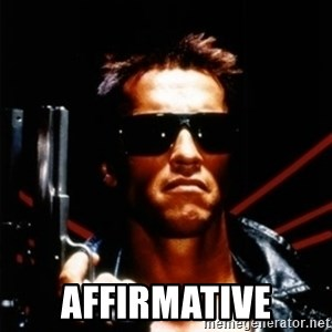 Arnold Schwarzenegger i will be back -  Affirmative