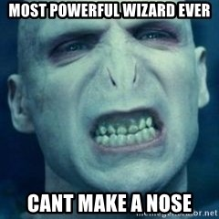 Angry Voldemort - Most powerful wizard ever cant make a nose