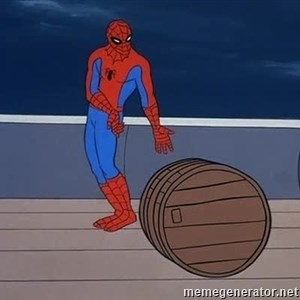 Spiderman and barrel -
