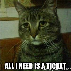 Depressed cat 2 -  ALL I NEED Is A TICKET