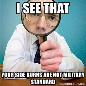 I SEE YOU HAVE - I see that  your side burns are not military standard