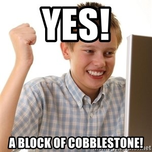 First Day on the internet kid - YES! a block of cobblestone!