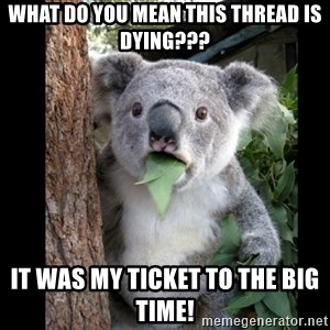 Koala can't believe it - What do you mean this thread is dying??? It was my ticket to the big time!