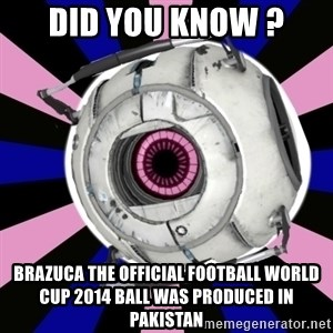 """Did you know"" Fun Fact sphere  - Did YOu Know ? Brazuca The Official football world cup 2014 ball was produced in pakistan"