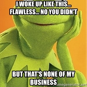 Kermit the frog - I WOKE UP LIKE THIS... FLAWLESS... NO YOU DIDN'T BUT THAT'S NONE OF MY BUSINESS
