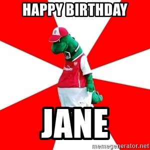 Arsenal Dinosaur - Happy Birthday Jane