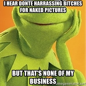 Kermit the frog - I hear donte harrassing bitches for naked pictures But that's none of my business