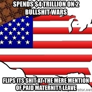 Scumbag America - spends $4 Trillion on 2 bullshit wars flips its shit at the mere mention of paid maternity leave