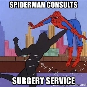 crotch punch spiderman - Spiderman consults Surgery service