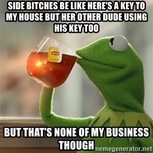 Kermit The Frog Drinking Tea - SIDE BITCHES BE LIKE HERE'S A KEY TO MY HOUSE BUT HER OTHER DUDE USING HIS KEY TOO  BUT THAT'S NONE OF MY BUSINESS THOUGH