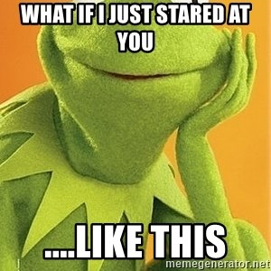 Kermit the frog - what if I just stared at you ....like this