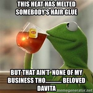 Kermit The Frog Drinking Tea - This heat has melted somebody's hair glue but that ain't  none of my business THO............. Beloved davita