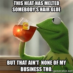 Kermit The Frog Drinking Tea - This heat has melted somebody's hair glue but that ain't  none of my business THO.
