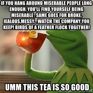 Kermit The Frog Drinking Tea - If you hang around miserable people long enough, you'll find yourself being miserable , same goes for broke, jealous,messy... Watch the company you keep! BIRDS OF A FEATHER FLOCK TOGETHER!  umm this tea is so good