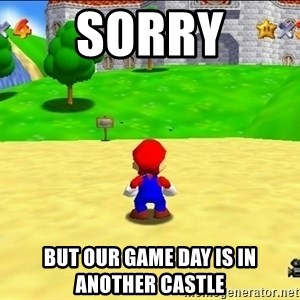 Mario looking at castle - sorry but our game day is in another castle