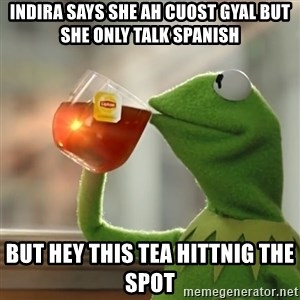 Kermit The Frog Drinking Tea - INdira says she ah cuost gyal but she only talk spanish but hey this tea hittnig the spot